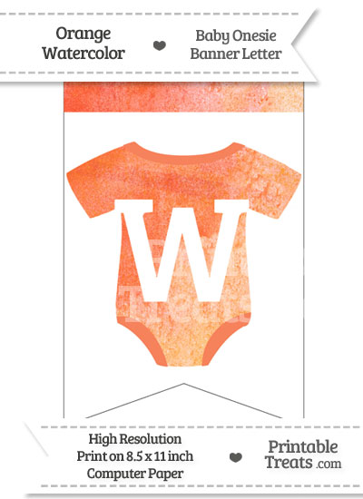 Orange Watercolor Baby Onesie Bunting Banner Letter W from PrintableTreats.com