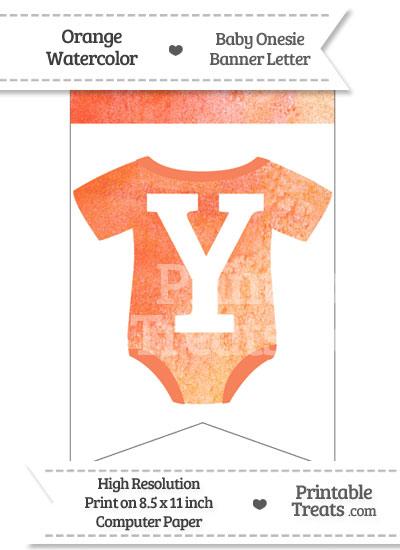 Orange Watercolor Baby Onesie Bunting Banner Letter Y from PrintableTreats.com