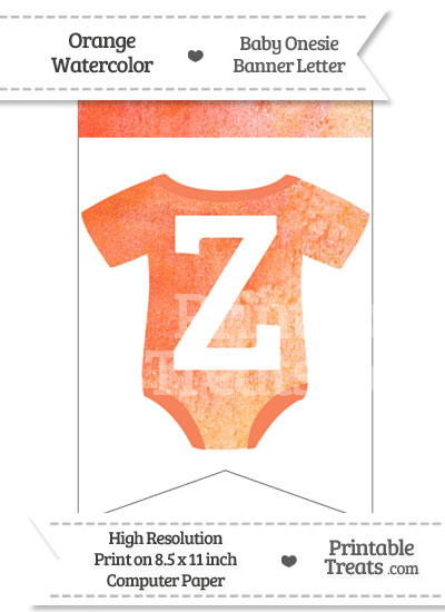 Orange Watercolor Baby Onesie Bunting Banner Letter Z from PrintableTreats.com