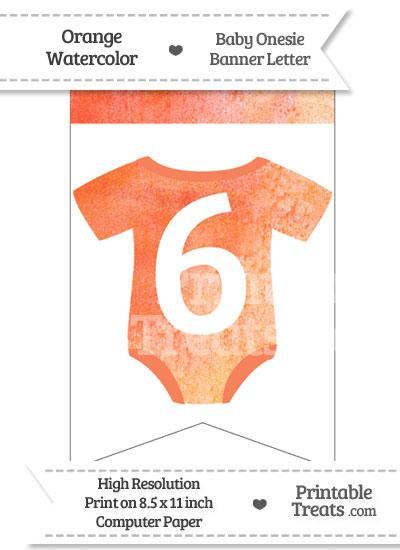 Orange Watercolor Baby Onesie Bunting Banner Number 6 from PrintableTreats.com