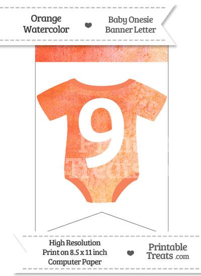 Orange Watercolor Baby Onesie Bunting Banner Number 9 from PrintableTreats.com