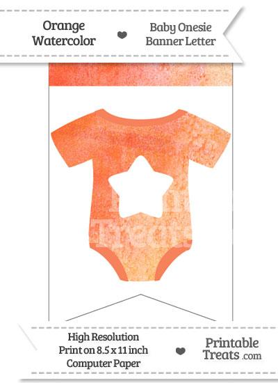 Orange Watercolor Baby Onesie Bunting Banner Star End Flag from PrintableTreats.com