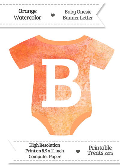 Orange Watercolor Baby Onesie Shaped Banner Letter B from PrintableTreats.com