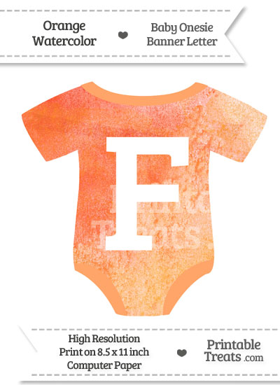 Orange Watercolor Baby Onesie Shaped Banner Letter F from PrintableTreats.com