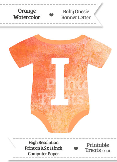 Orange Watercolor Baby Onesie Shaped Banner Letter I from PrintableTreats.com