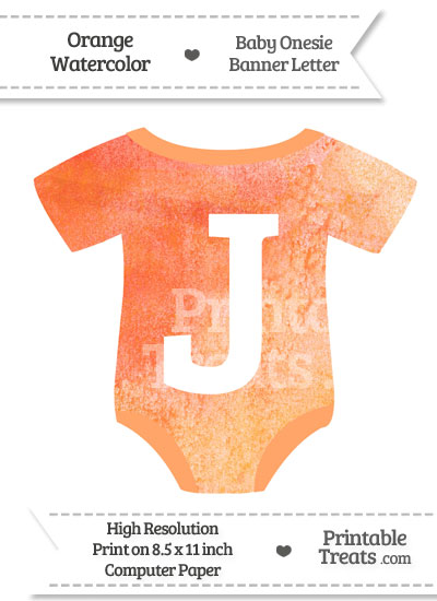Orange Watercolor Baby Onesie Shaped Banner Letter J from PrintableTreats.com