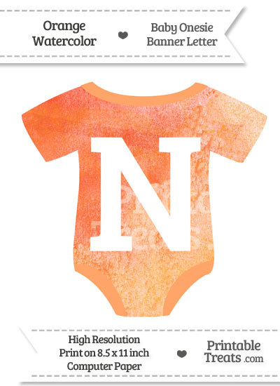 Orange Watercolor Baby Onesie Shaped Banner Letter N from PrintableTreats.com