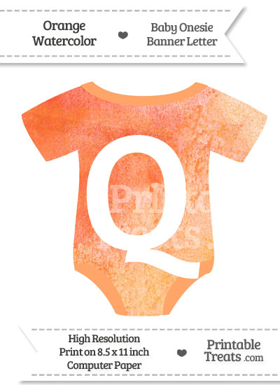 Orange Watercolor Baby Onesie Shaped Banner Letter Q from PrintableTreats.com