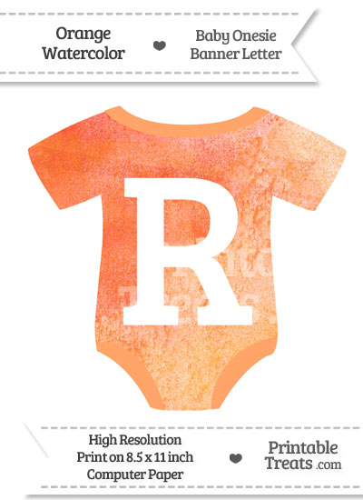 Orange Watercolor Baby Onesie Shaped Banner Letter R from PrintableTreats.com