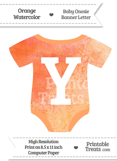 Orange Watercolor Baby Onesie Shaped Banner Letter Y from PrintableTreats.com