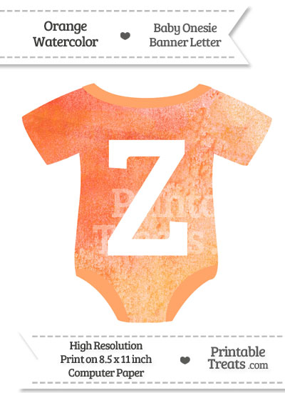 Orange Watercolor Baby Onesie Shaped Banner Letter Z from PrintableTreats.com