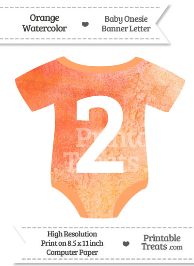 Orange Watercolor Baby Onesie Shaped Banner Number 2 from PrintableTreats.com