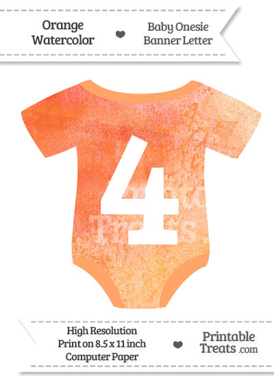 Orange Watercolor Baby Onesie Shaped Banner Number 4 from PrintableTreats.com