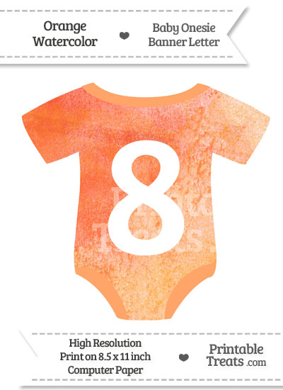 Orange Watercolor Baby Onesie Shaped Banner Number 8 from PrintableTreats.com