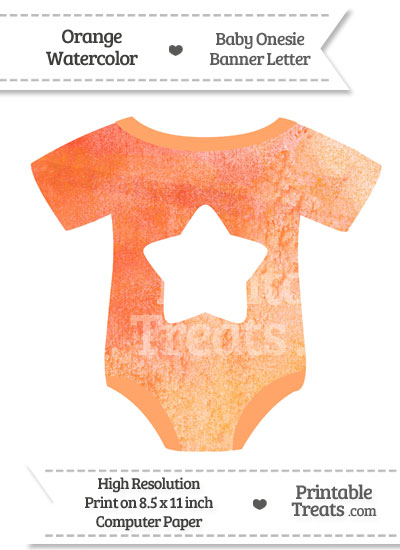 Orange Watercolor Baby Onesie Shaped Banner Star End Flag from PrintableTreats.com