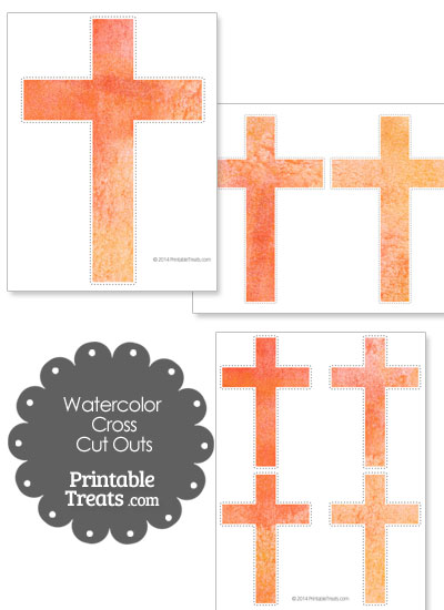 Orange Watercolor Cross Cut Outs from PrintableTreats.com
