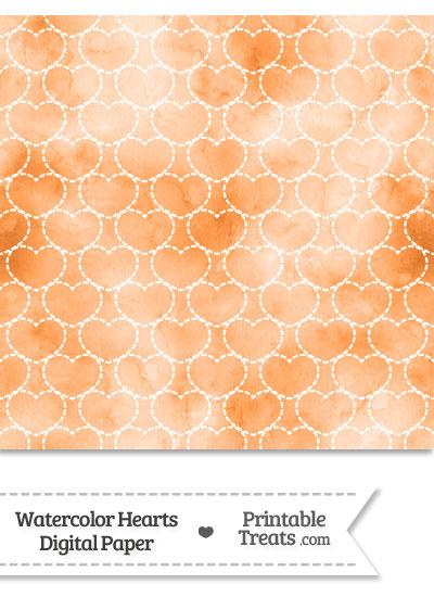 Orange Watercolor Hearts Digital Scrapbook Paper from PrintableTreats.com