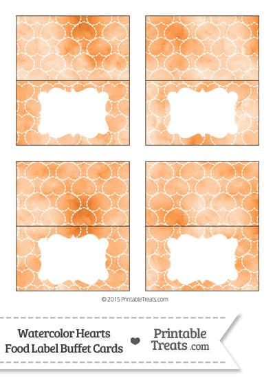 Orange Watercolor Hearts Food Labels from PrintableTreats.com