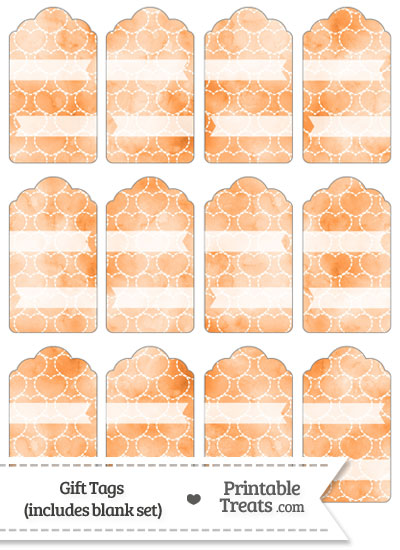 Orange Watercolor Hearts Gift Tags from PrintableTreats.com