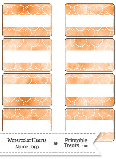 Orange Watercolor Hearts Name Tags from PrintableTreats.com