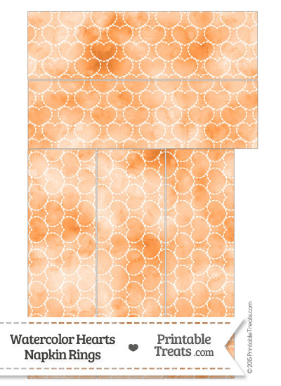 Orange Watercolor Hearts Napkin Rings from PrintableTreats.com