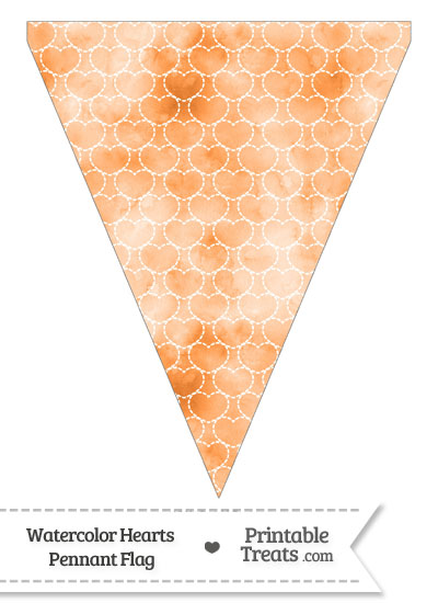 Orange Watercolor Hearts Pennant Banner Flag from PrintableTreats.com