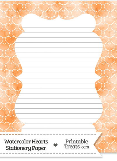 Orange Watercolor Hearts Stationery Paper from PrintableTreats.com