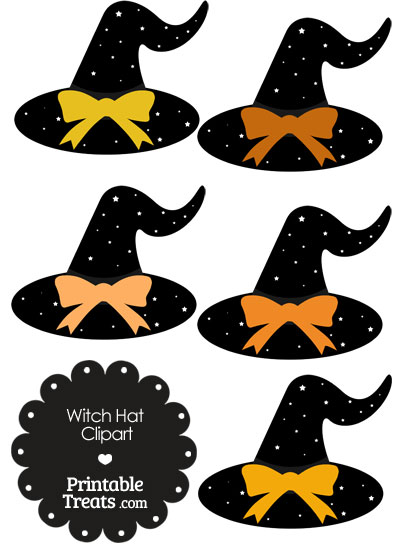 Orange Witch Hat Clipart with Large Bow from PrintableTreats.com