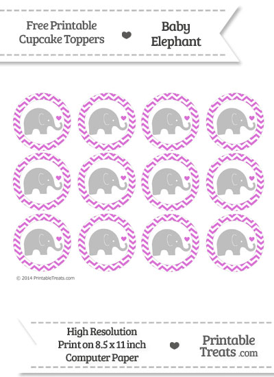 Orchid Chevron Baby Elephant Cupcake Toppers from PrintableTreats.com