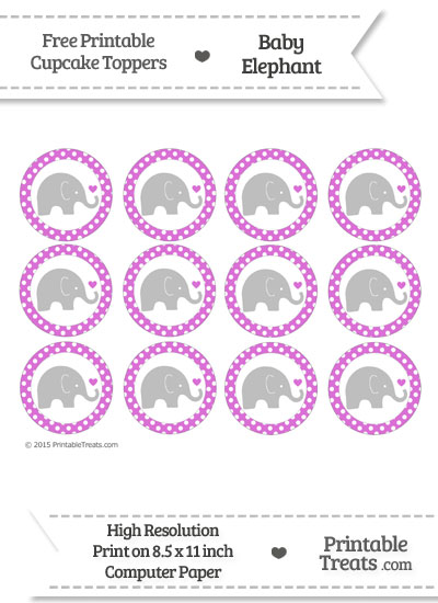 Orchid Polka Dot Baby Elephant Cupcake Toppers from PrintableTreats.com