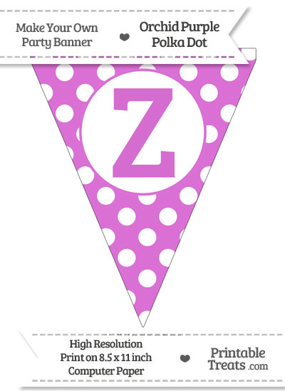 Orchid Polka Dot Pennant Flag Capital Letter Z from PrintableTreats.com