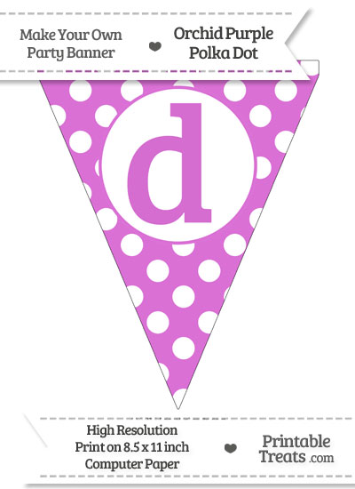 Orchid Polka Dot Pennant Flag Lowercase Letter D from PrintableTreats.com