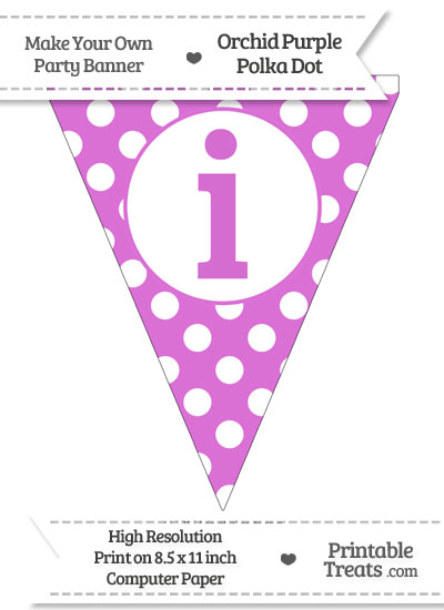 Orchid Polka Dot Pennant Flag Lowercase Letter I from PrintableTreats.com