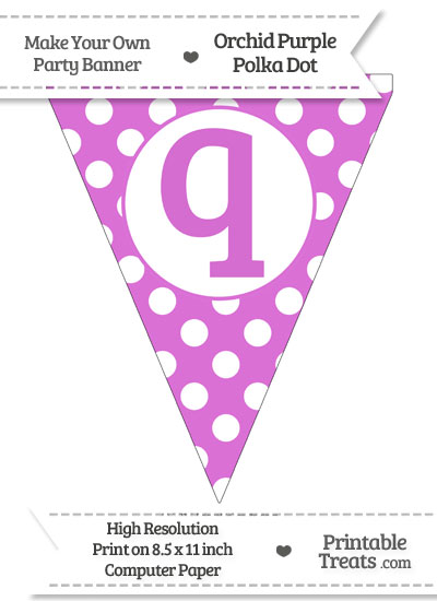 Orchid Polka Dot Pennant Flag Lowercase Letter Q from PrintableTreats.com