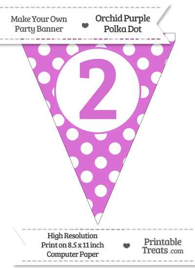 Orchid Polka Dot Pennant Flag Number 2 from PrintableTreats.com
