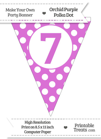 Orchid Polka Dot Pennant Flag Number 7 from PrintableTreats.com