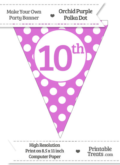 Orchid Polka Dot Pennant Flag Ordinal Number 10th from PrintableTreats.com