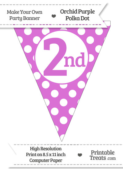 Orchid Polka Dot Pennant Flag Ordinal Number 2nd from PrintableTreats.com