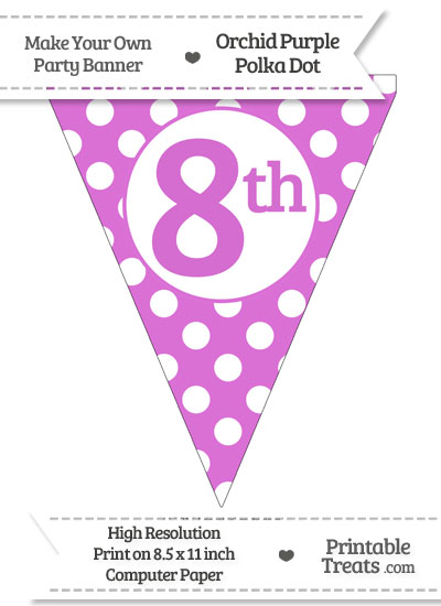Orchid Polka Dot Pennant Flag Ordinal Number 8th from PrintableTreats.com