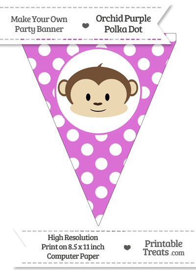 Orchid Polka Dot Pennant Flag with Boy Monkey from PrintableTreats.com