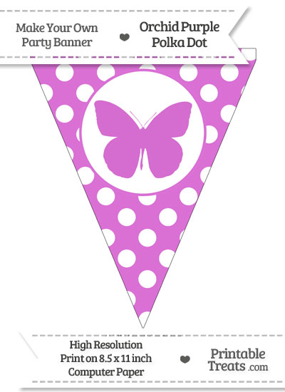 Orchid Polka Dot Pennant Flag with Butterfly from PrintableTreats.com