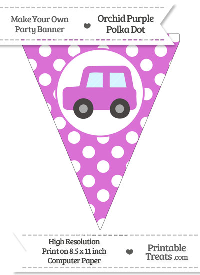 Orchid Polka Dot Pennant Flag with Car Facing Left from PrintableTreats.com