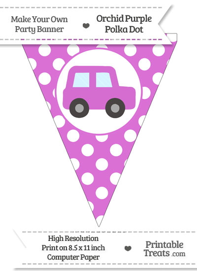 Orchid Polka Dot Pennant Flag with Car Facing Right from PrintableTreats.com