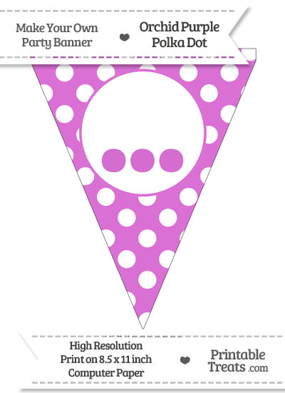 Orchid Polka Dot Pennant Flag with Ellipses from PrintableTreats.com