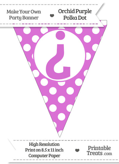 Orchid Polka Dot Pennant Flag with Inverted Question Mark from PrintableTreats.com