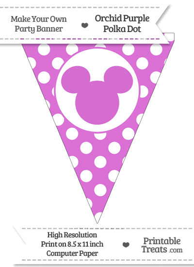 Orchid Polka Dot Pennant Flag with Mickey Mouse from PrintableTreats.com