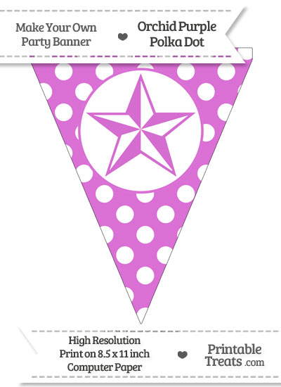 Orchid Polka Dot Pennant Flag with Nautical Star from PrintableTreats.com