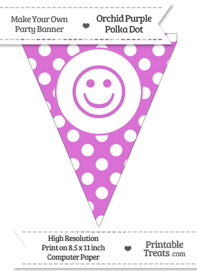 Orchid Polka Dot Pennant Flag with Smiley Face from PrintableTreats.com