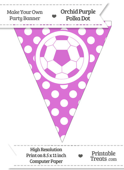 Orchid Polka Dot Pennant Flag with Soccer Ball from PrintableTreats.com