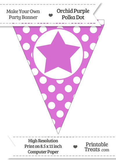 Orchid Polka Dot Pennant Flag with Star from PrintableTreats.com